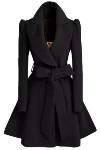 Noble Turn-Down Collar Long Sleeve Pure Color Self Tie Belt Women's Coat Dress