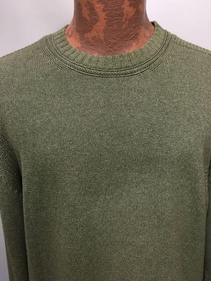 Indigo Palms Denim Company Mens L Light Green Cotton Crewneck Pullover Sweater  #IndigoPalms #Crewneck