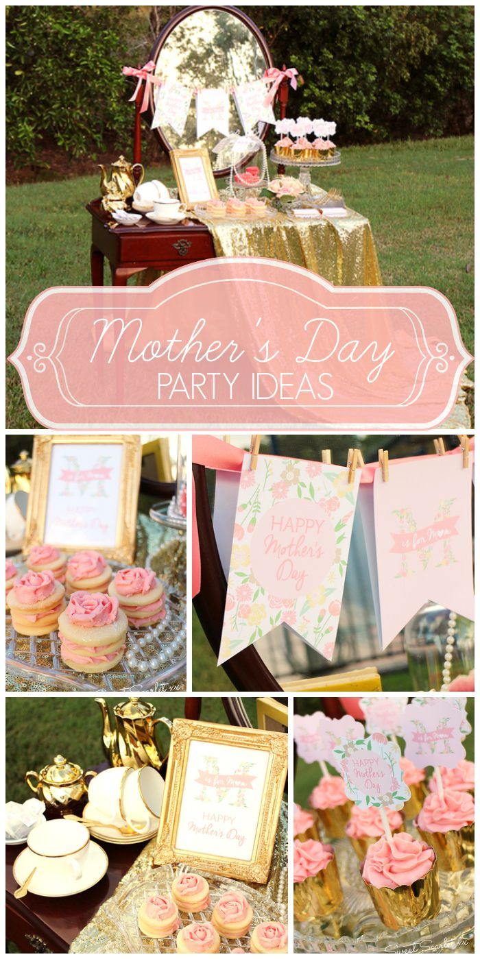 This Mother's Day High Tea party features a vintage dessert table!High Tea, Gold Accent