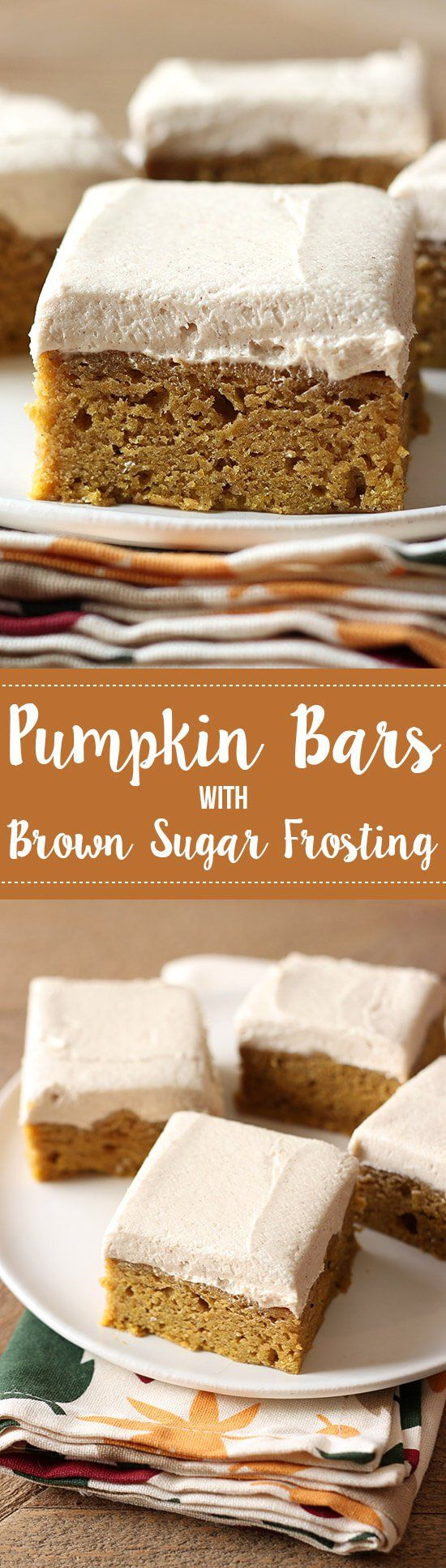 SO GOOD. Pumpkin Bars with Brown Sugar Frosting is the perfect fall crowd pleasing treat! Spiced thick  soft pumpkin bars and a thick layer of brown sugar frosting.