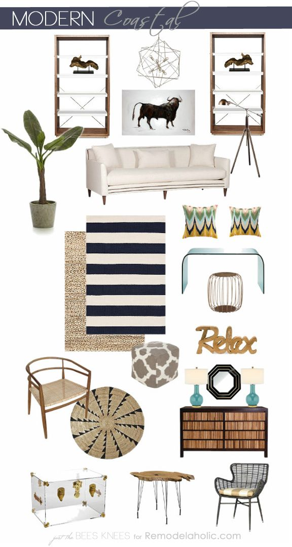Modern Coastal Inspiration from Remodelaholic.com #costal #design #moodboard