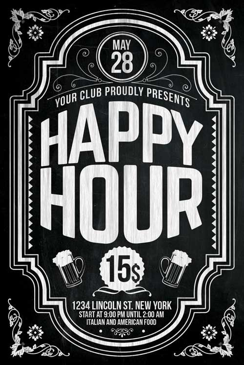 Happy Hour Flyer Template - http://xtremeflyers.com/happy-hour-flyer-template/ Happy Hour Flyer Template Happy Hour Flyer Template Happy Hour flyer template – Super easy to edit, well organized in folders with names, you can easily change texts, Colors, Add/Remove elements to this layered PSD. Features 300 DPI CMYK Layered PSD All texts are editable Very #flyer #template #psd #poster #event #party #bar #pub #club #advertisement #advertising #happy #hour #beer #chalkboard #chalk