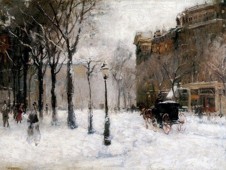 Paul Cornoyer, 1901 Winter in New York oil on canvas 46 x 61 cm