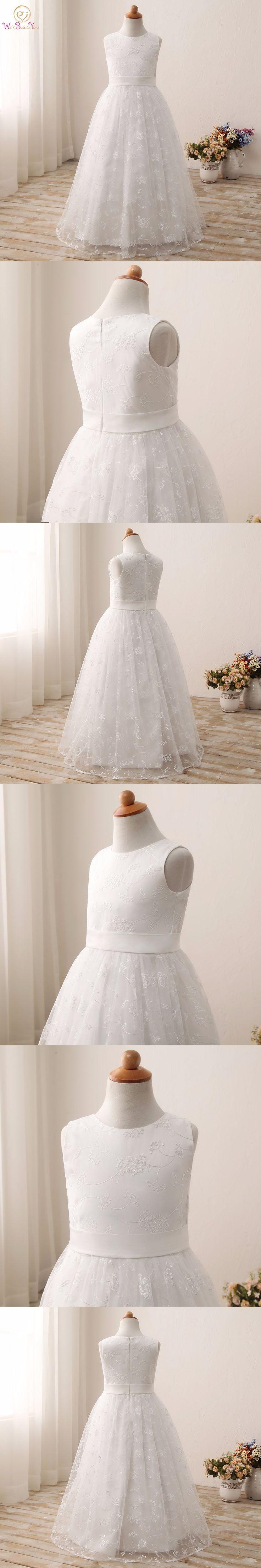 White / Ivory Flower Girl Dresses Lace A-line Sleeveless Long First Communion Dresses for Girls Vestido Daminha 2017 2-12 Stock