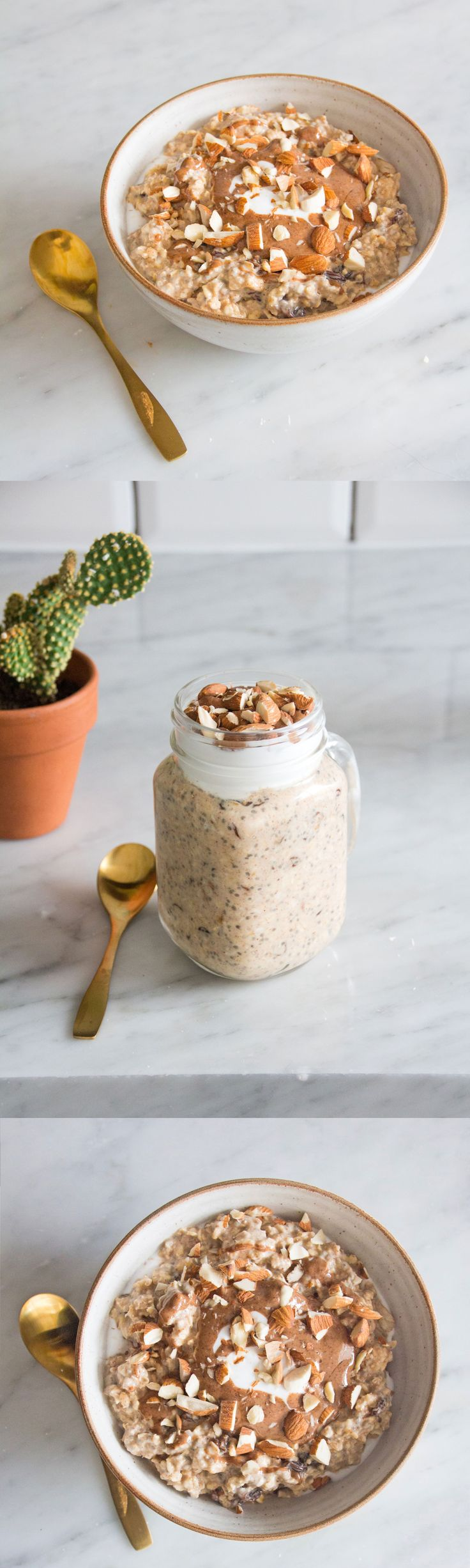 PEANUT BUTTER OVERNIGHT OATS... This easy recipe is all plant based, vegan friendly, gluten free and so delicious! It's my new favourite breakfast for busy weeks. With just six ingredients and no prep time, it's a real winner. I stir it together before I go to bed and then grab the pot and take it on the go with me. The mix of creamy peanut butter with sweet oats, juicy raisins, almond milk and a splash of maple is so delicious, while the chia seeds help thicken it up.