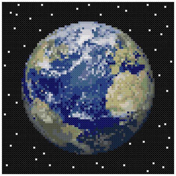 PDF Cross Stitch pattern : 0053.Earth planet by PIXcross