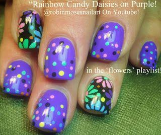 Nail-art by Robin Moses. Daisies and polka dots!