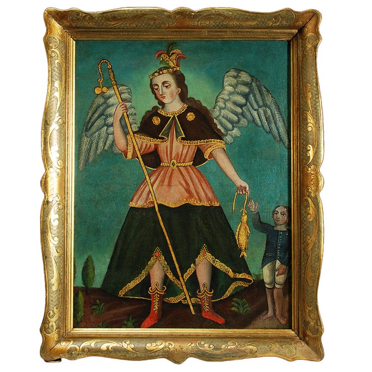 1stDibs - Spanish Colonial Oil on Canvas - San Rafael Arcangel