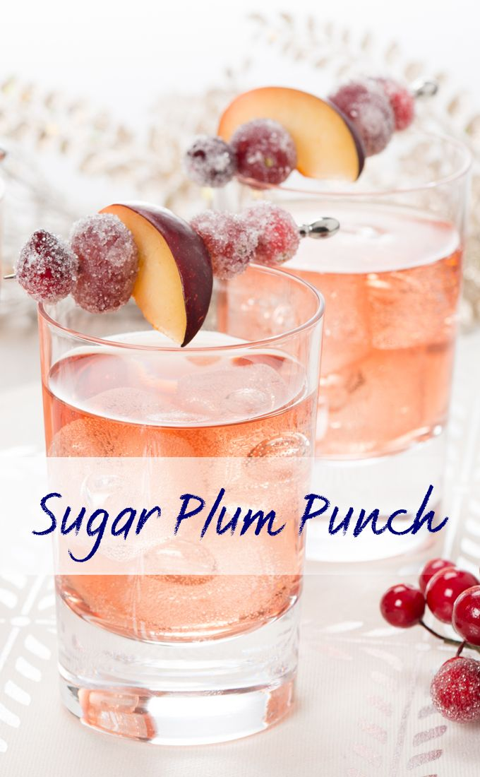 Welch's Sparkling Sugar Plum Punch! Holiday drink recipes. Non alcoholic drink recipes. Sparkling punch. Mocktail recipes.