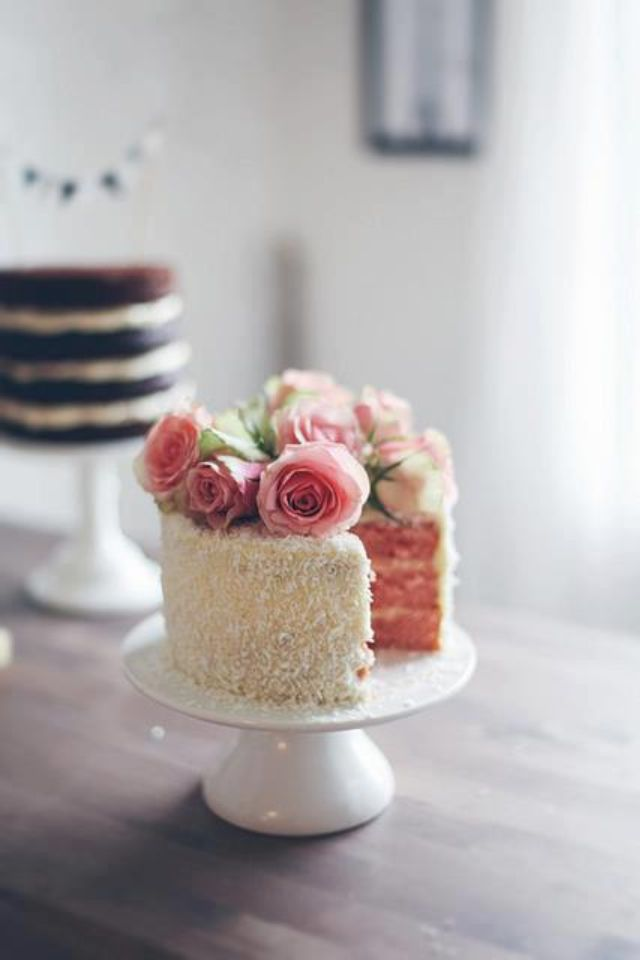Sweet looking coconut cake with a surprise pink sponge inside