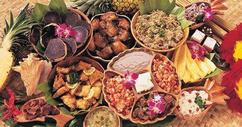 Traditional Hawaiian Luau food. It's a mix of Hawaiian, Polynesian, and Asian influenced flavors. Yum.