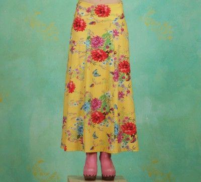 Lien & Giel maxi skirt Ibiza, butterfly floral print yellow geel gelb rock rok vlinder bloemen print