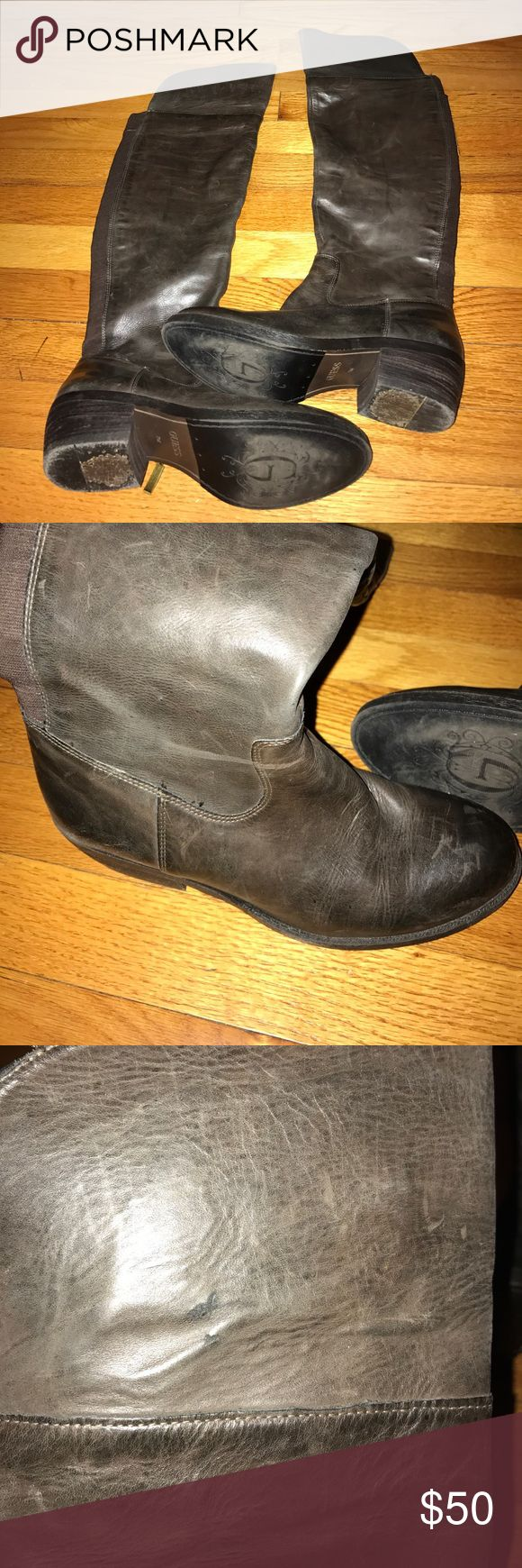 Guess brown leather over the knee boots Great condition. Minor scuffs and wear in stretch panel. 14 inch circumference with stretch panel. 1 1/2 heel. 21 inch shaft. Guess Shoes Over the Knee Boots