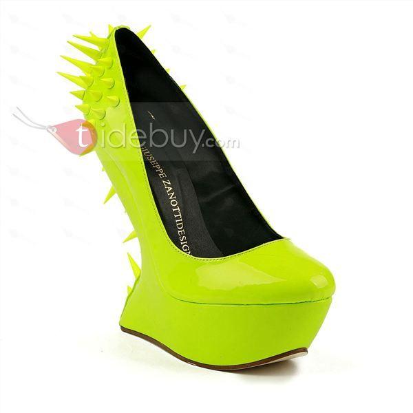 高品質革ウェッジヒール高い靴