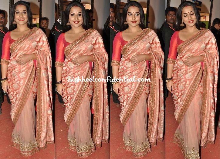 Vidya Balan In A Pale Dusty Pink Half And Sabyasachi Sari