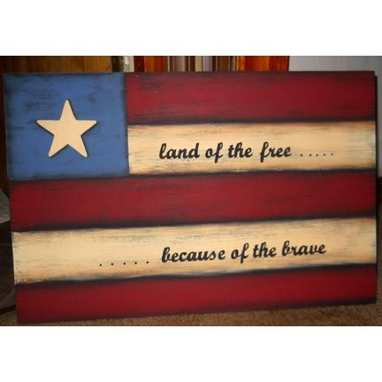 Land of the Free Primitive Flag Sign - old pallet boards could be used.