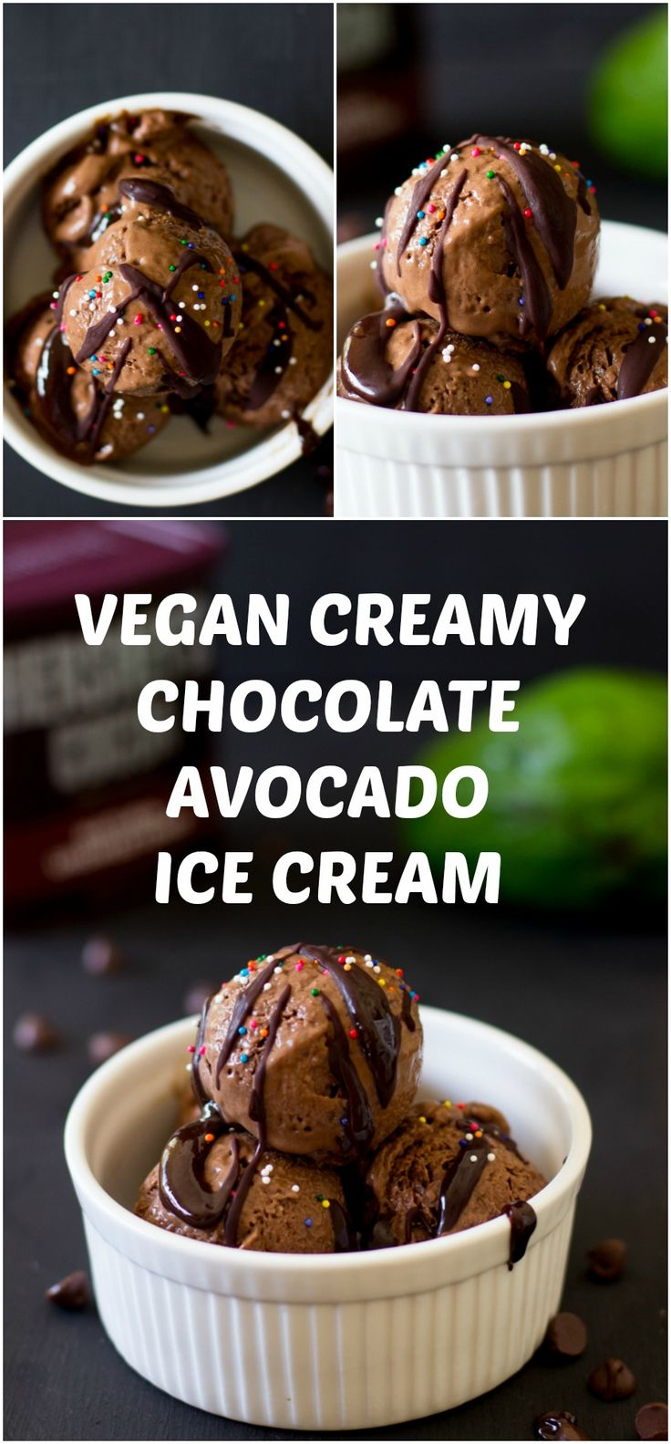 This Vegan Creamy Chocolate-Avocado Ice Cream is not only super chocolatey and delicious but is healthy for you! #vegan #icecream #avocado #healthy