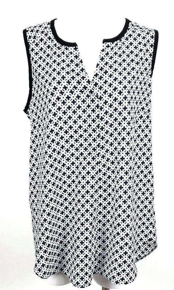 a8196ca1a0226 Dept 222 Plus Size 1X Tunic Black White Print Sleeveless Blouse Open V Neck