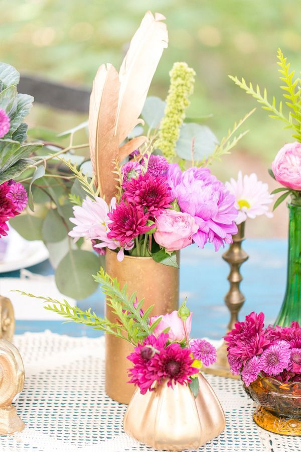 DIY flowers with metallic gold centerpieces