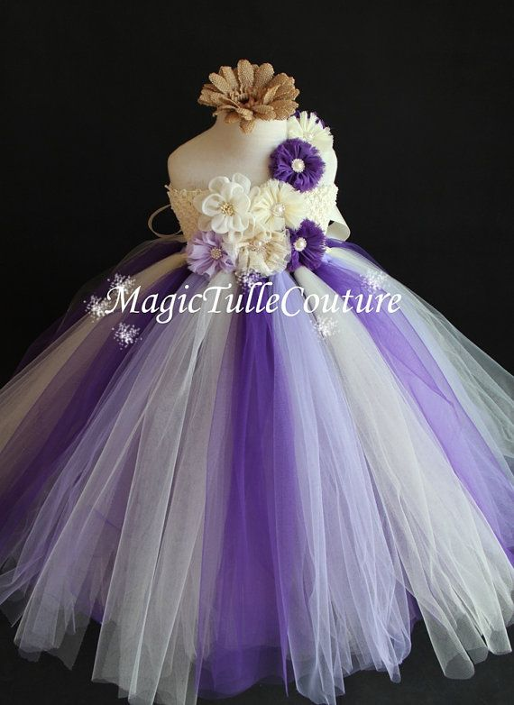Ivory Light Purple and Deep Purple Flower by MagicTulleCouture
