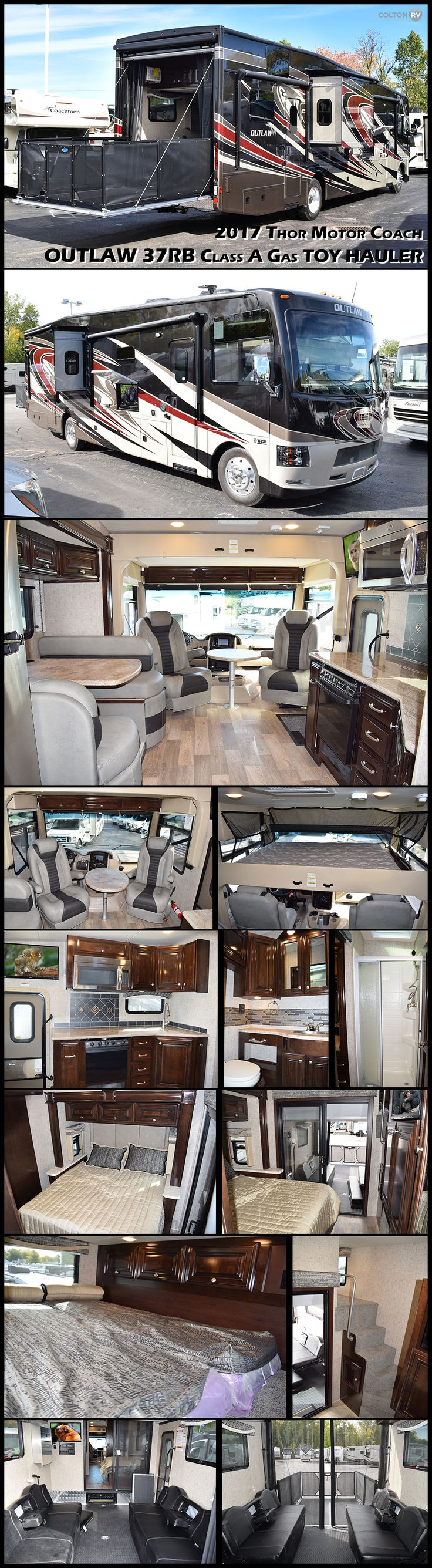 "This 2017 OUTLAW 37RB Class a Gas TOY HAULER by Thor Motor Coach has it all!! You can enjoy your outdoor toys with all the comforts of home! This motorhome features a 96"" x 122"" garage with an overhead loft for sleeping, two slide outs for added roominess inside, plus complete kitchen and bath amenities! Head towards the rear to find the master bedroom with slide out. For additional sleeping there is an overhead drop down bunk above the cab."