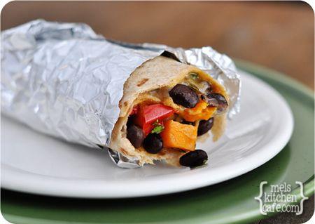 Sweet Potato and Black Bean Burritos from Mel's Kitchen Cafe