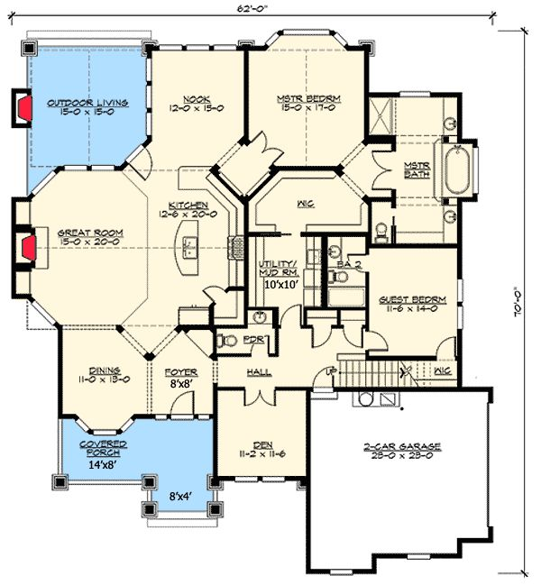 Plan 23384jd rambler in multiple versions house plans for Rambler floor plans with bonus room