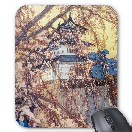 Cool oriental japanese classic Hirosaki Castle art Mousepad