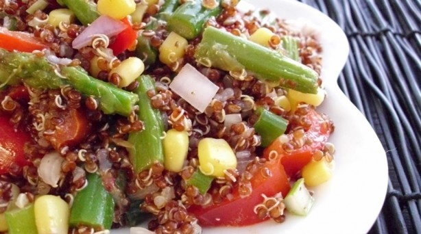 Red Quinoa & Asparagus Salad with Toasted Cumin Vinaigrette