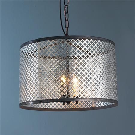 Radiator Screen Drum Shade Pendant Light - dining room option if painted out red or yellow