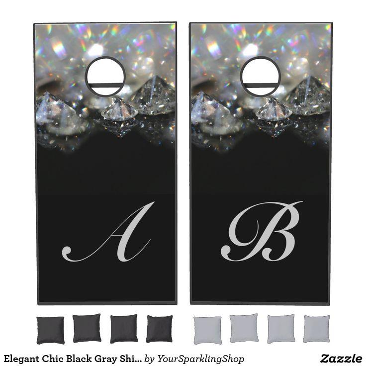 Elegant Chic Black Gray Shiny Diamonds Custom Monogrammed #BeanBagToss #Cornhole Set