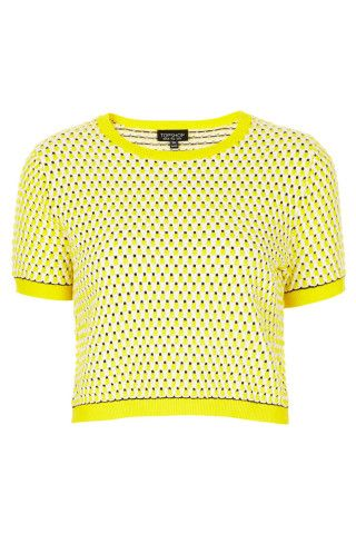 Cropped top de color amarillo y manga corta #trend #chic