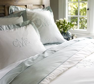 We have this-Master Bed-Cali King PORCELAIN BLUE Plaza 400-Thread-Count Duvet Cover & Sham #potterybarn