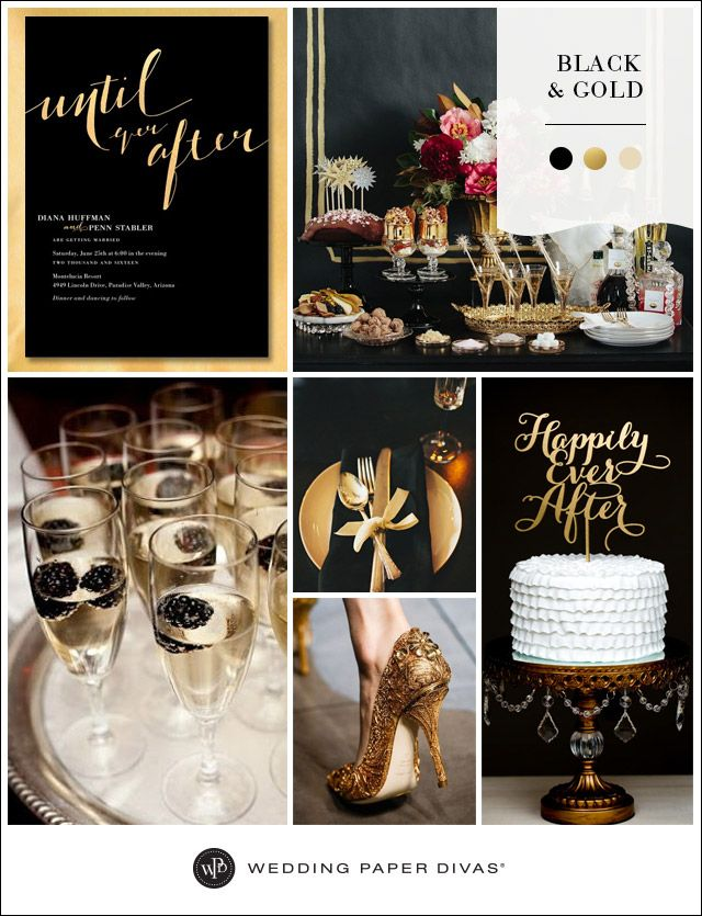 Black and metallic gold is a timelessly chic color combination. Wow your guests with ultra glam detailsin an elegant atmosphere.
