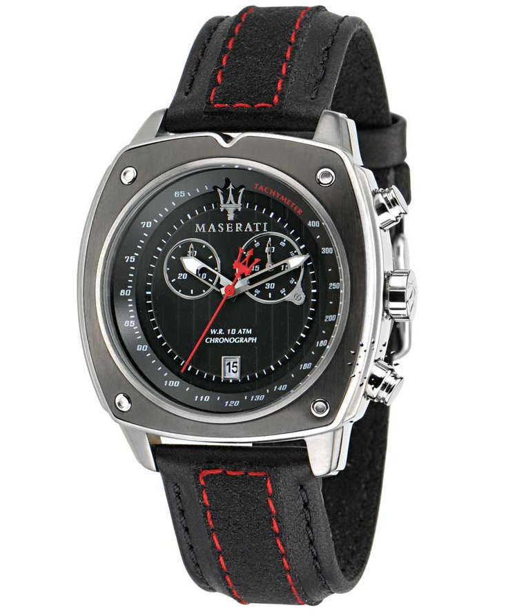 MASERATI Chronograph Black Leather Strap Μοντέλο: R8871606001 Τιμή: 261€ http://www.oroloi.gr/product_info.php?products_id=32534