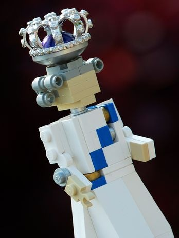 Lego Queen Elizabeth, with a miniature crown that consists of real diamonds.