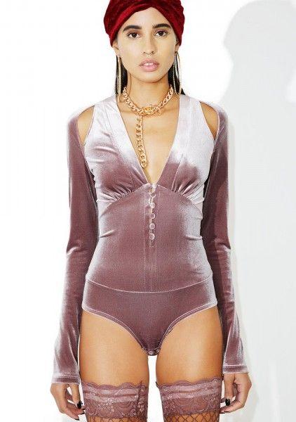 Doll's Kill Pietra lilac velvet bodysuit, $52 (~£42 / ~49€)