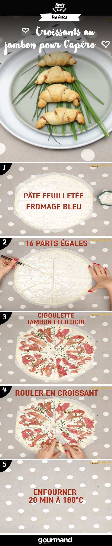 Préparez de délicieux petits croissants au roquefort et au jambon en un rien de temps ! Idéals pour l'apéritif !