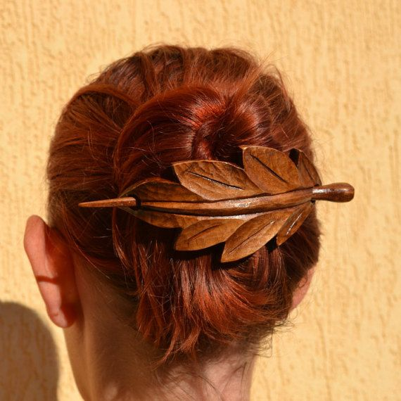 Leaf, Wood Hair Accessories, Wooden Shawl Pin, Mom, Wife Gift, Hair Stick, Barrette, Haarstab, Wood Carving, Leaf Hair Barrette, Wood Leaf