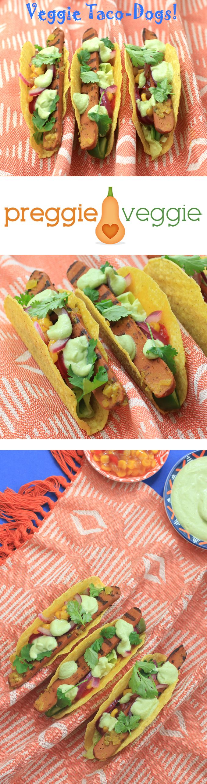 Super fun and easy vegetarian taco-dogs! Veggie hot dogs with all the trimmings, plus a vegan avocado and jalapeno crema. #vegetarian #taco #hotdogs #recipes #funfood #bunsareboring