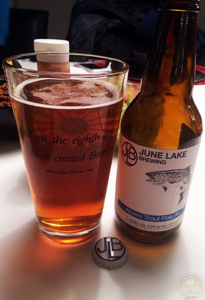 06-Oct-2015: Alpers Trout Pale Ale by June Lake Brewing. A very fine pale ale. Nice bitterness and flavor. Quite delicious! 5.8% abv. 49 IBU. #ottbeerdiary