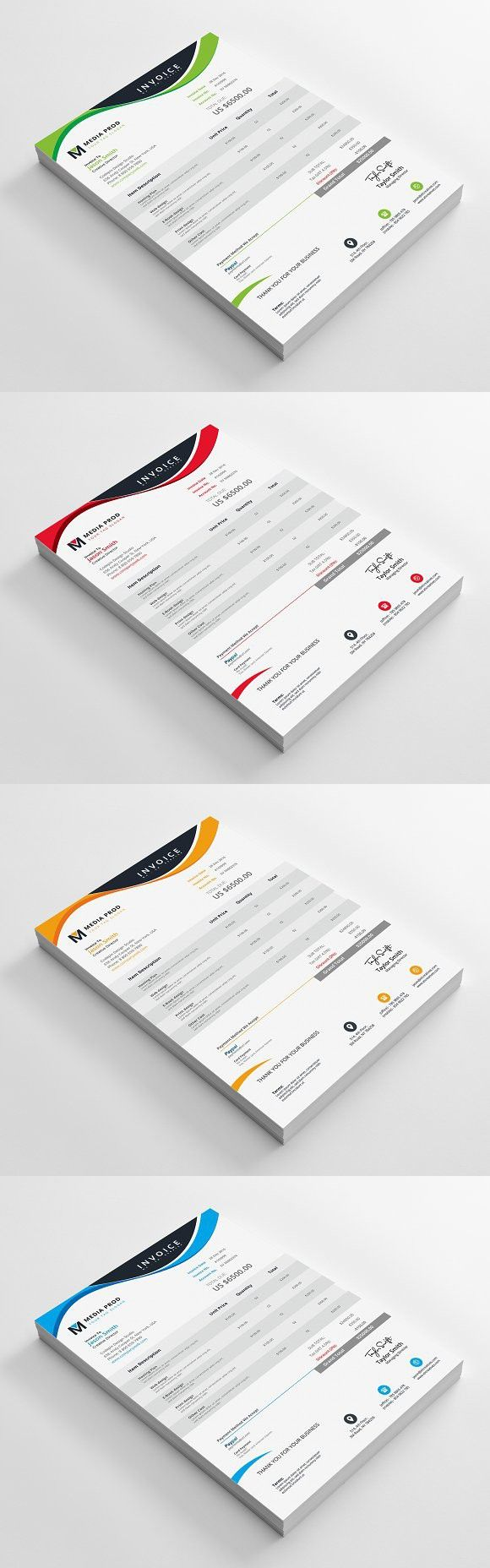 Invoice. Stationery Templates