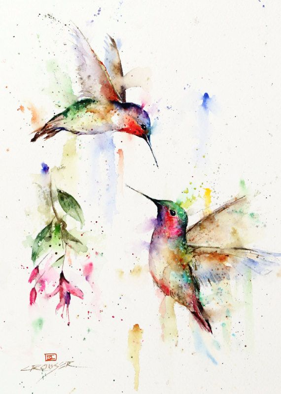 HUMMINGBIRD Greeting Cards Set of 8 Watercolor by Dean