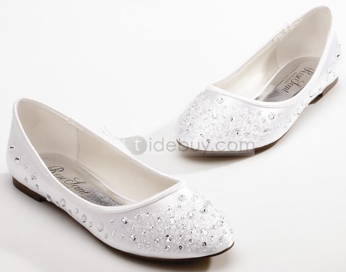 Rhinestone Satin Round Toe Flat Wedding Shoes