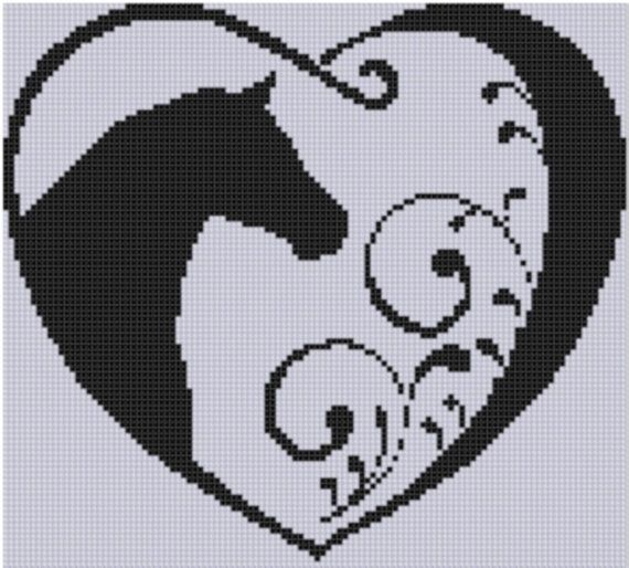 Horse Heart Cross Stitch Pattern by MotherBeeDesigns on Etsy