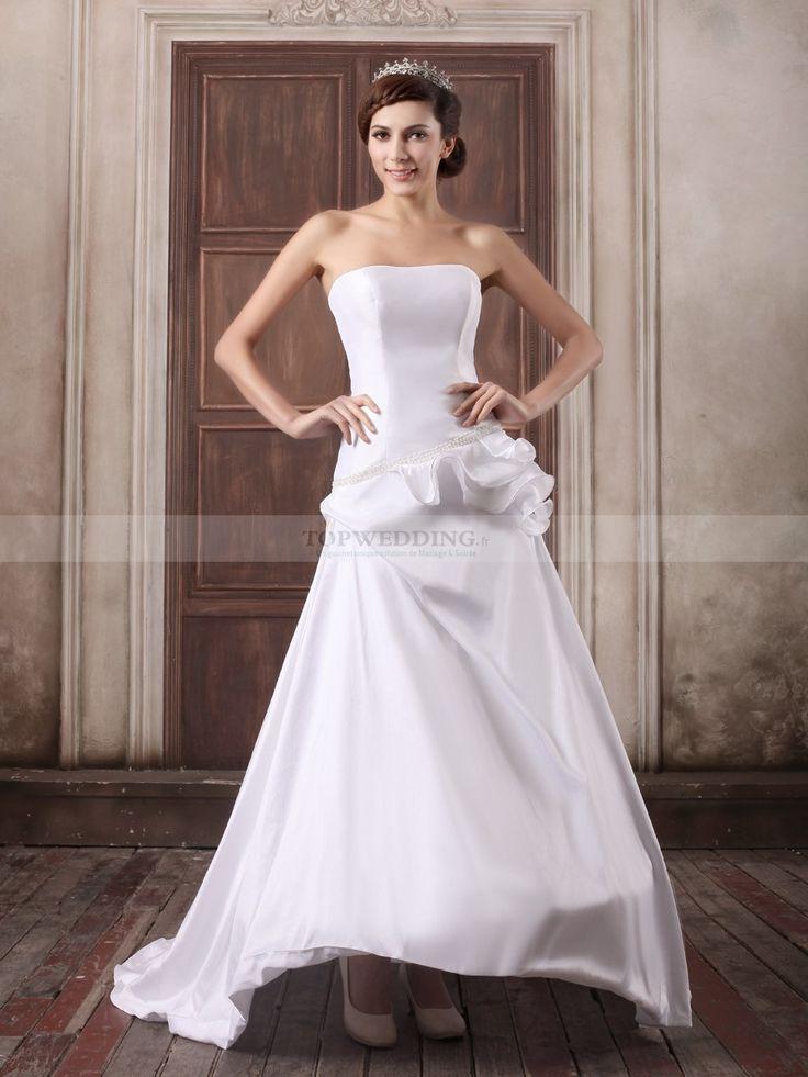 Reynilde - robe de mariée a-ligne sans bretelles en satin avec perlage
