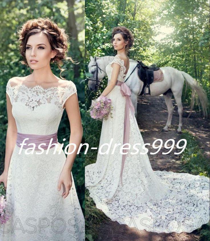 White ivory Lace Wedding dress Bridal Gown custom size 4 6 8 10 12 14 16 18
