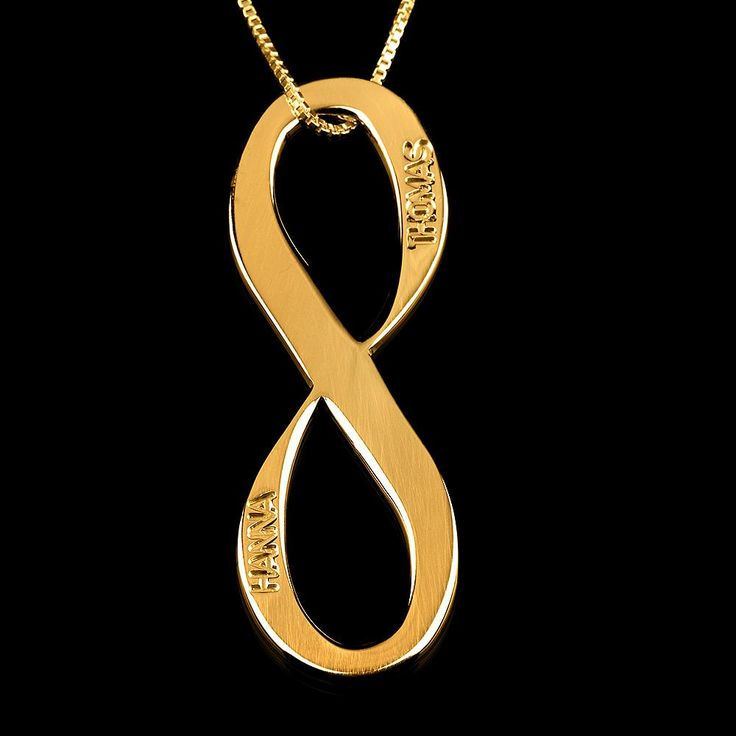24K Gold Plated Vertical Two Names Infinity Necklace
