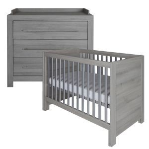 Europe Baby Vicenza Grey Roomset Cot and Chest