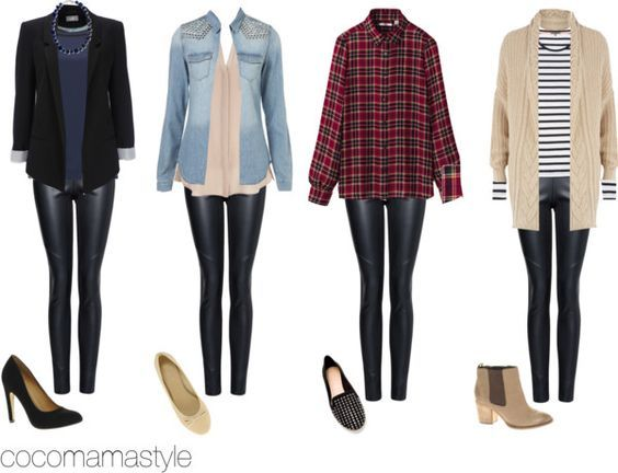 Four ways to wear faux leather leggings: dressy with a sportcoat, glam with a rhinstone denim jacket, Western with a plaid button up, and preppy with a navy striped shirt and sweater cover-up.. Buy the supplies to make this: http://mjtrends.com/pins.php?name=ways-to-wear-faux-leather-leggings